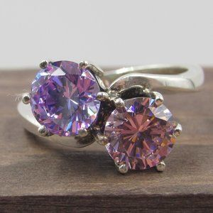 Size 7 Sterling Pink Purple Cubic Zirconia Ring